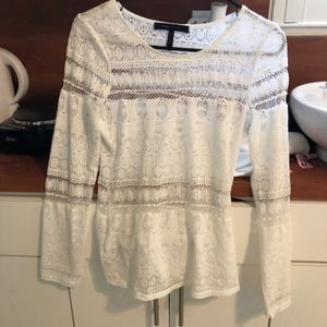 BCBG Crochet long sleeve top small